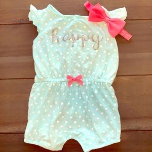 Pink and Teal Romper Outfit w/ headband